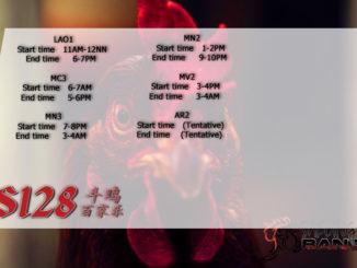 Jadwal Sabung Ayam S128 06 Maret 2020